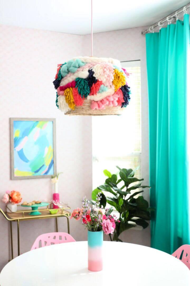 DIY Faux Woven Yarn Pendant Light Fixture