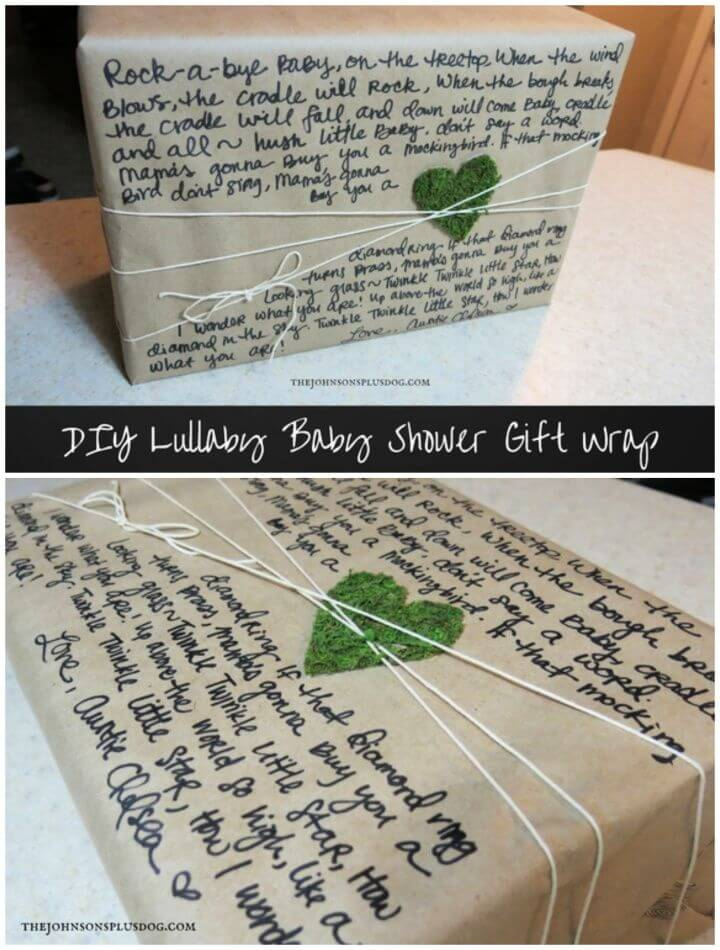 DIY Lullaby Baby Shower Gift Wrap