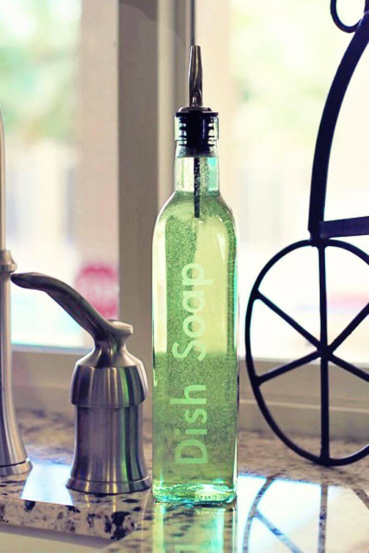DIY Olive Oil Bottle Dish Soap Dispenser