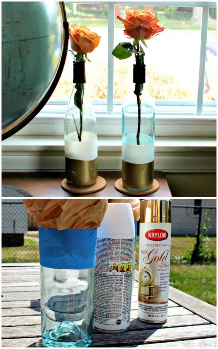 DIY Paint Dipped Wine Bottle Vases