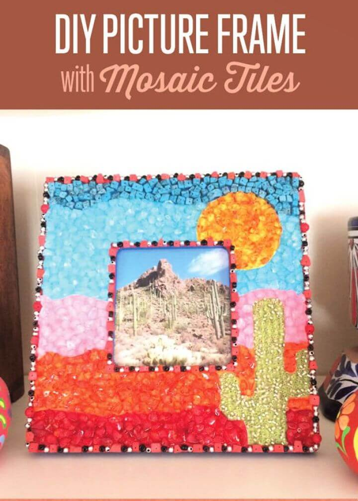 DIY Picture Frame Craft Ideas with Mosaic Tiles