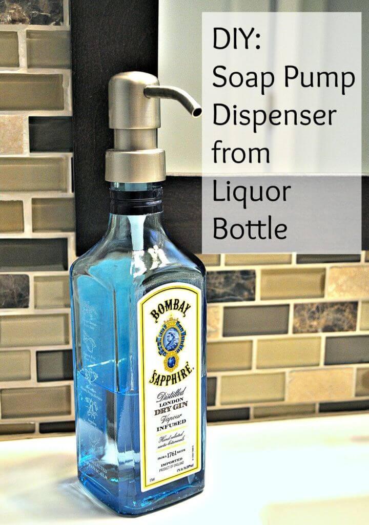 DIY Soap Pump Dispenser From Liquor Bottle
