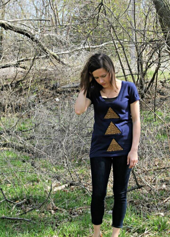 DIY Triangle Reverse Applique Shirt