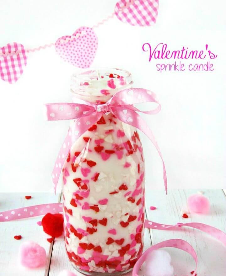 DIY Valentine Sprinkles Candle Gift Ideas