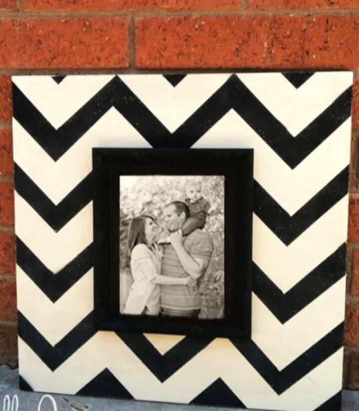 DIY Wood Chevron Picture Frame