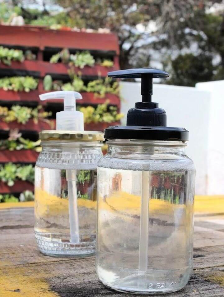 Easy DIY Glass Jar Soap Dispensers