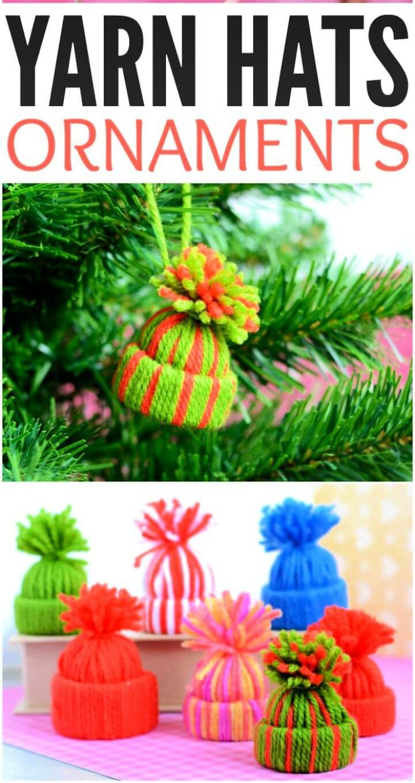 Easy DIY Mini Yarn Hats Ornaments