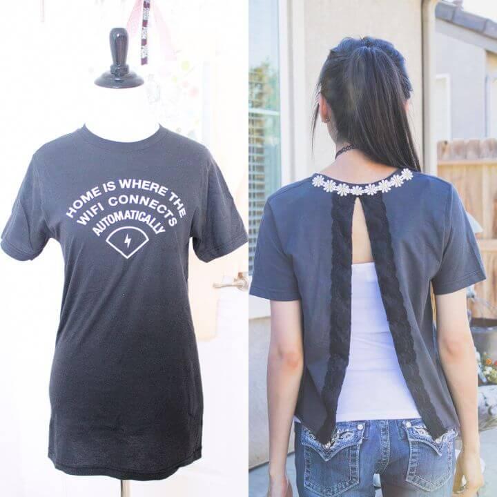 Easy T shirt Refashion Using Lace