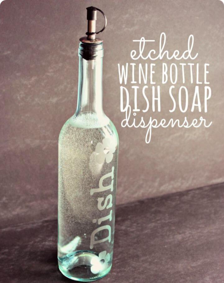 Etched Wine Bottle Dish Soap Dispenser