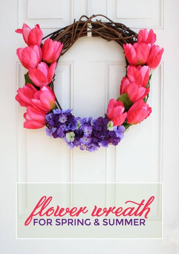 Flower Summer Wreath – Tulips and Hydrangeas