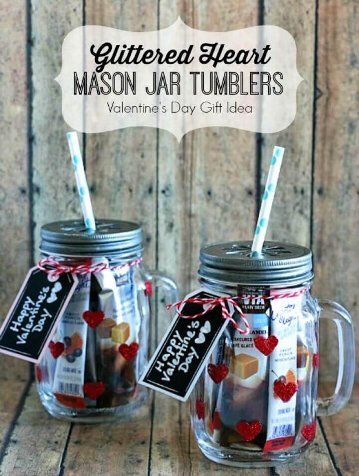 Glittered Heart Mason Jar Tumblers