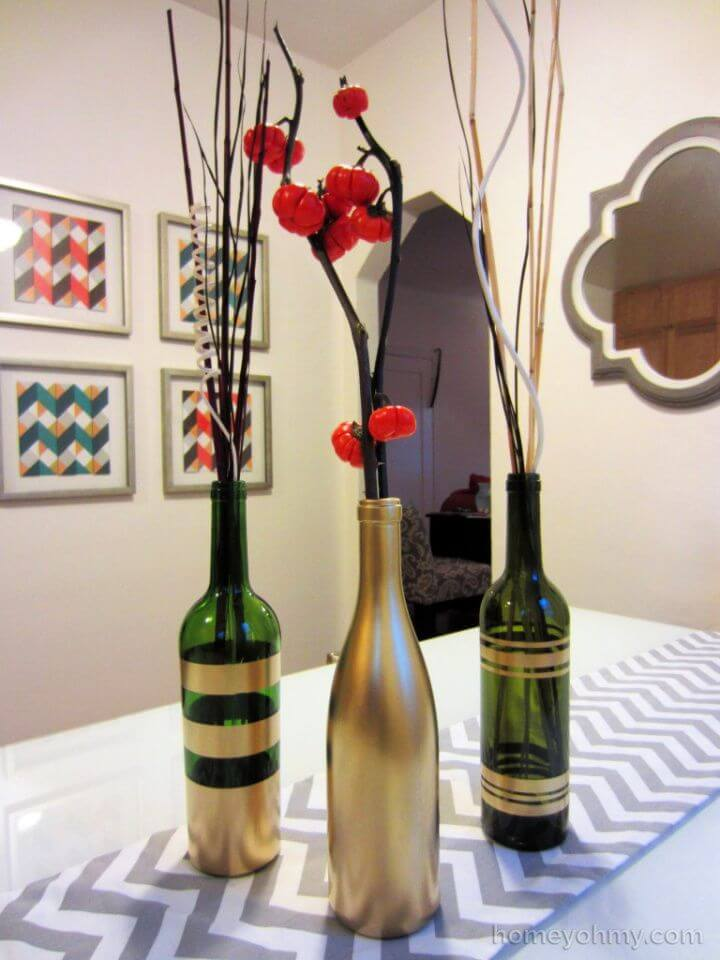 Gold Painted Wine Bottle Vases