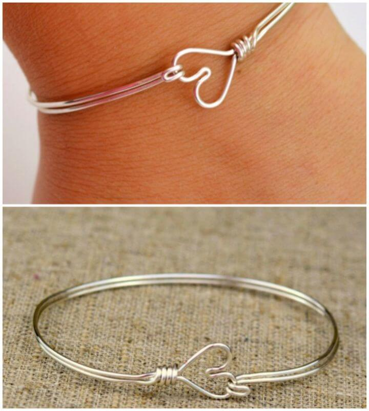 Heart Clasp Wire Wrapped Bangle Bracelet