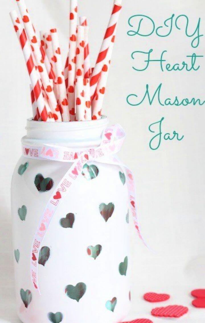 Heart Mason Jar Valentine Craft