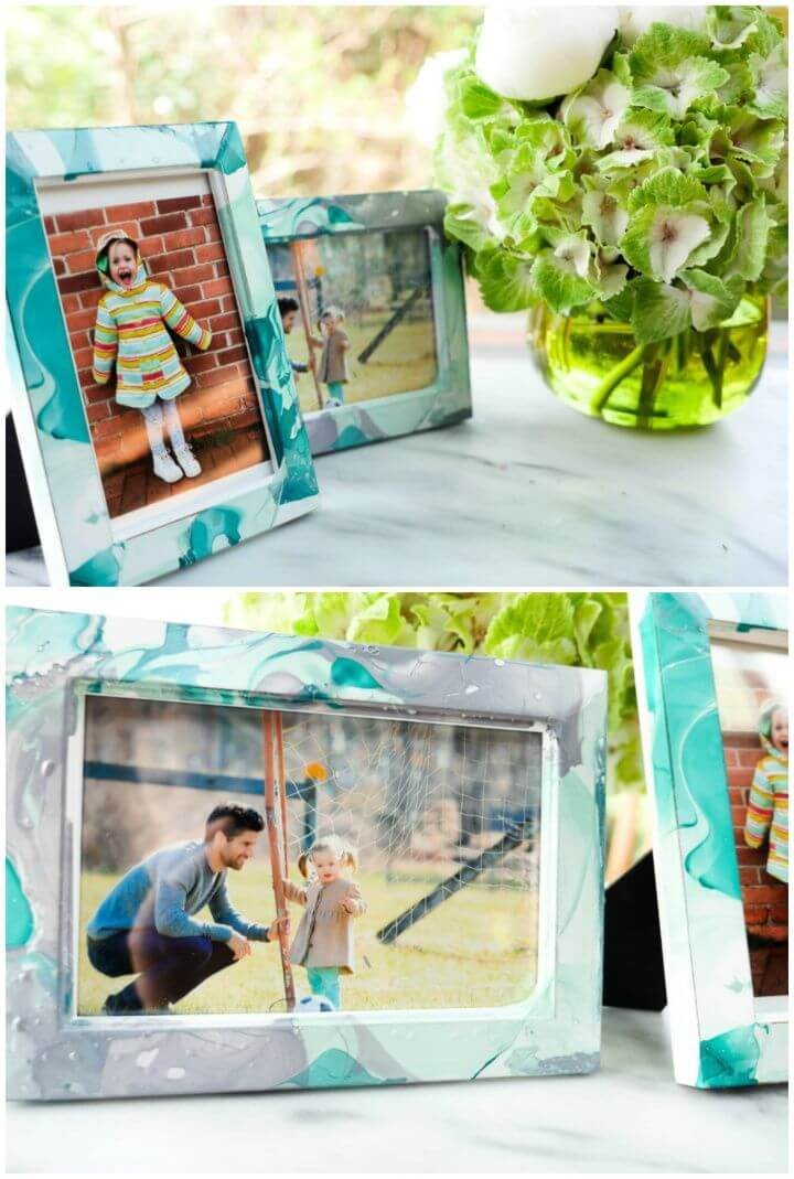 How To DIY Marbled Picture Frames