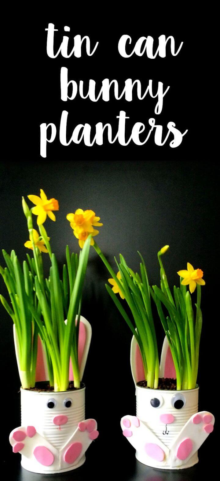 How To Make Adorable Tin Can Bunny Planters