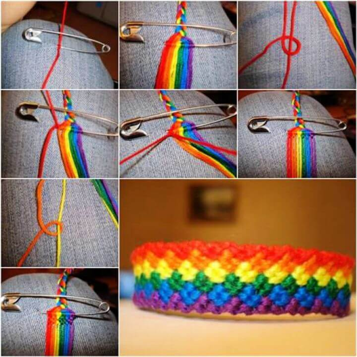 How to DIY Weave Rainbow Color Baubles Bracelet