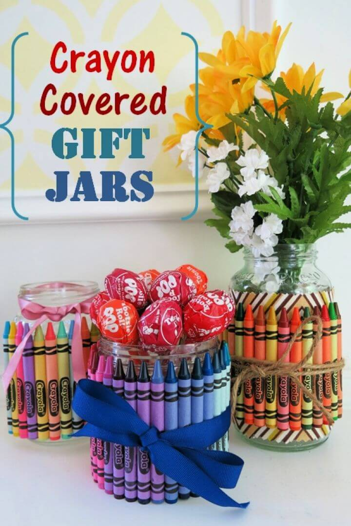 How to Make Crayon Covered Jars for Party Favors Gifts