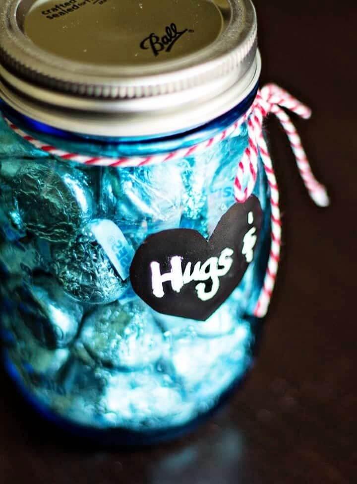 Hugs And Kisses Mason Jar Valentines Gifts