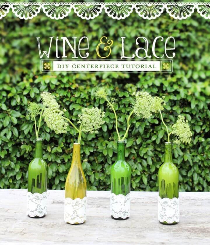 Laced Wine Bottle Vases