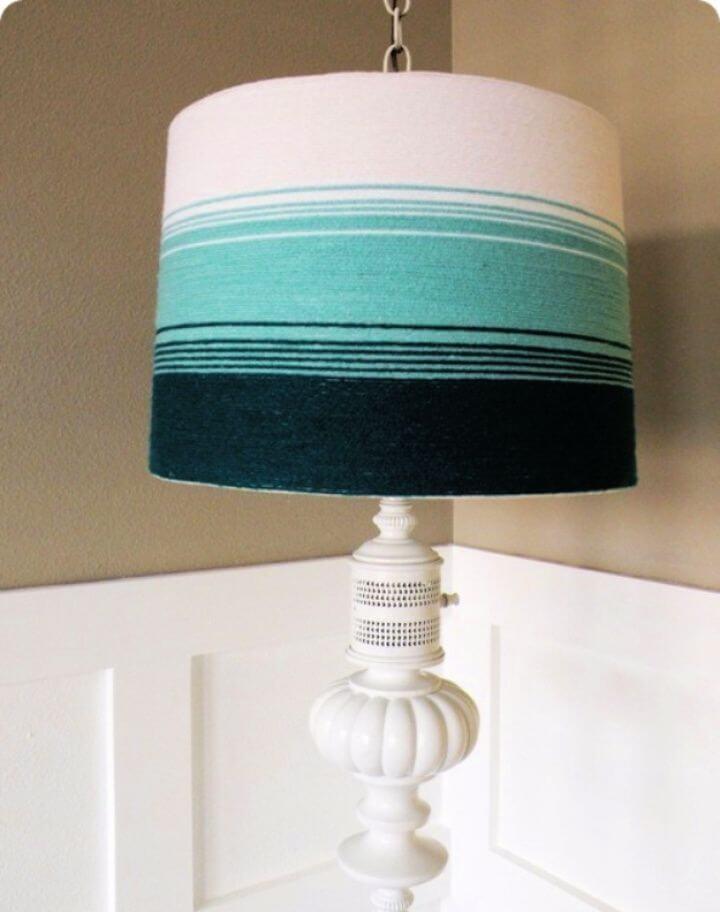 Make A DIY Yarn Ombre Lampshade Tutorial