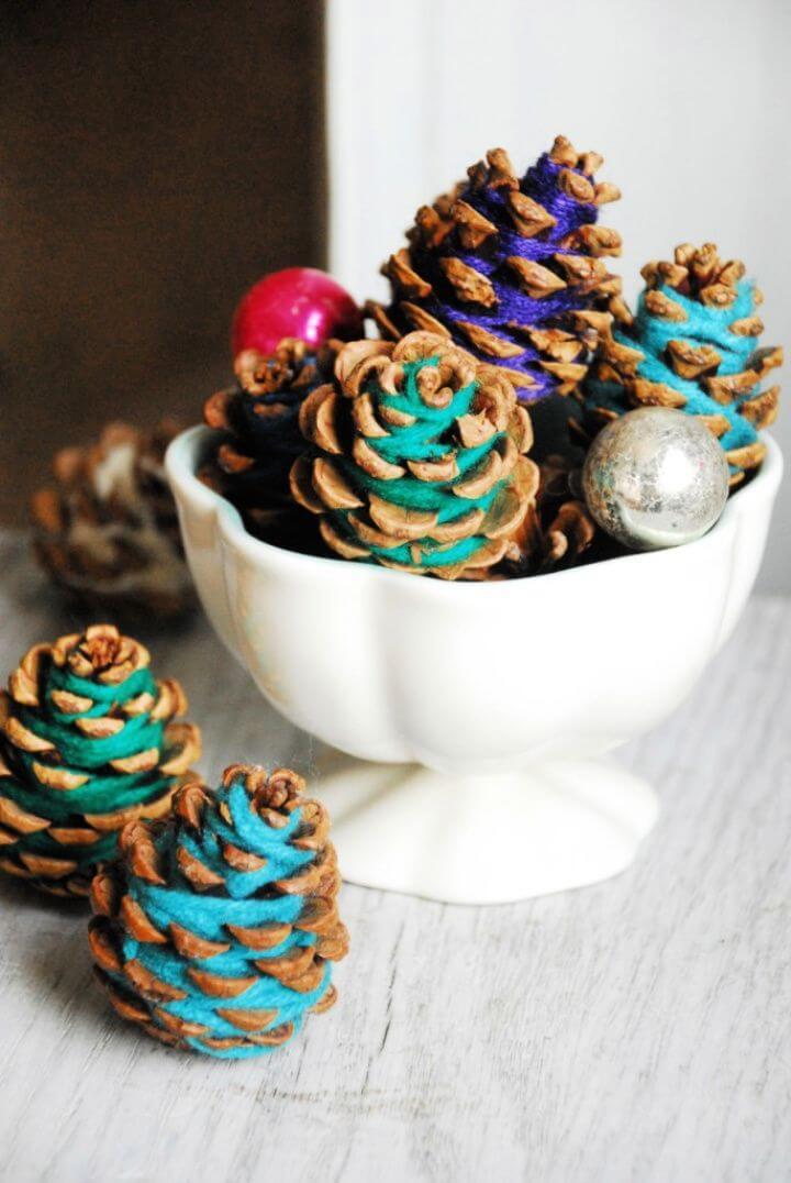 Make A DIY Yarn Pine Cones Centerpiece