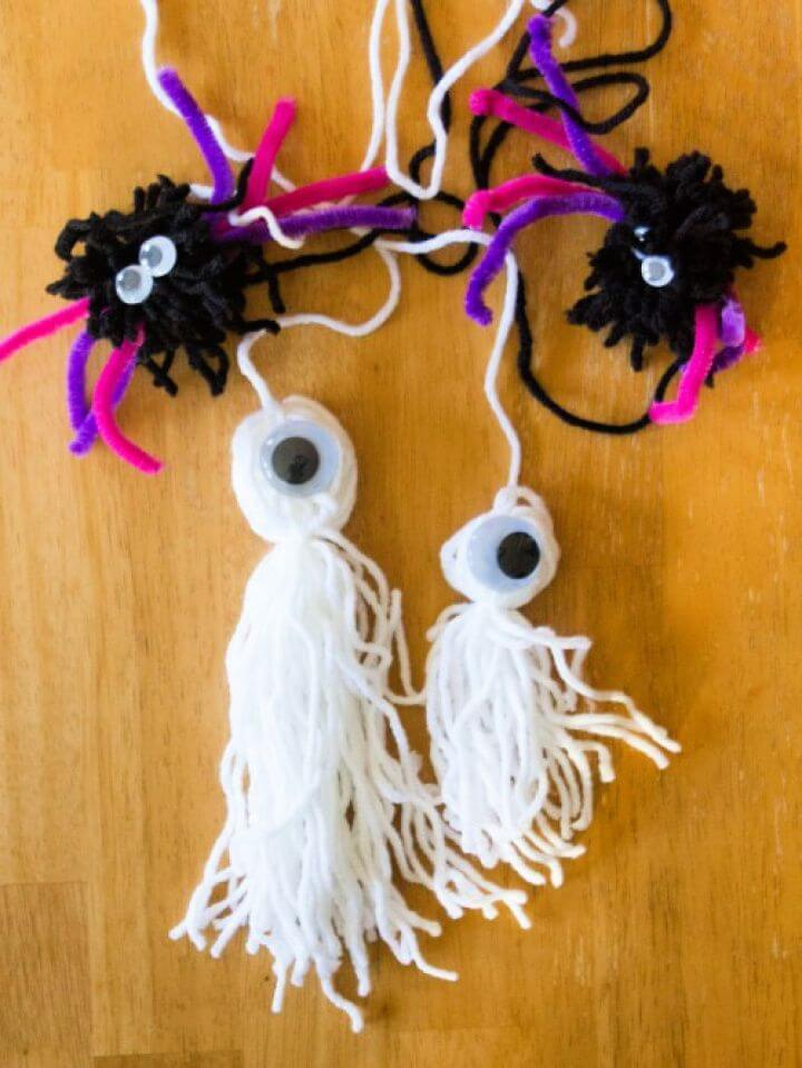 Make A Spider Pumpkin And Ghost With Yarn