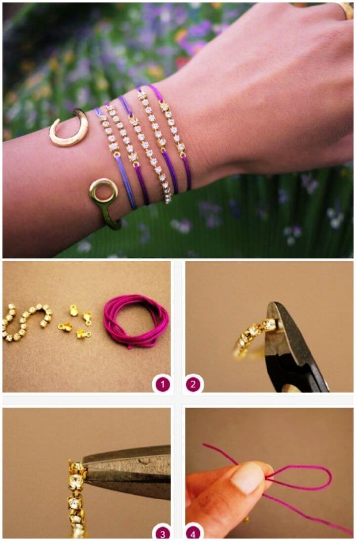 Make Bracelet with Rhinestone Chain and Cord
