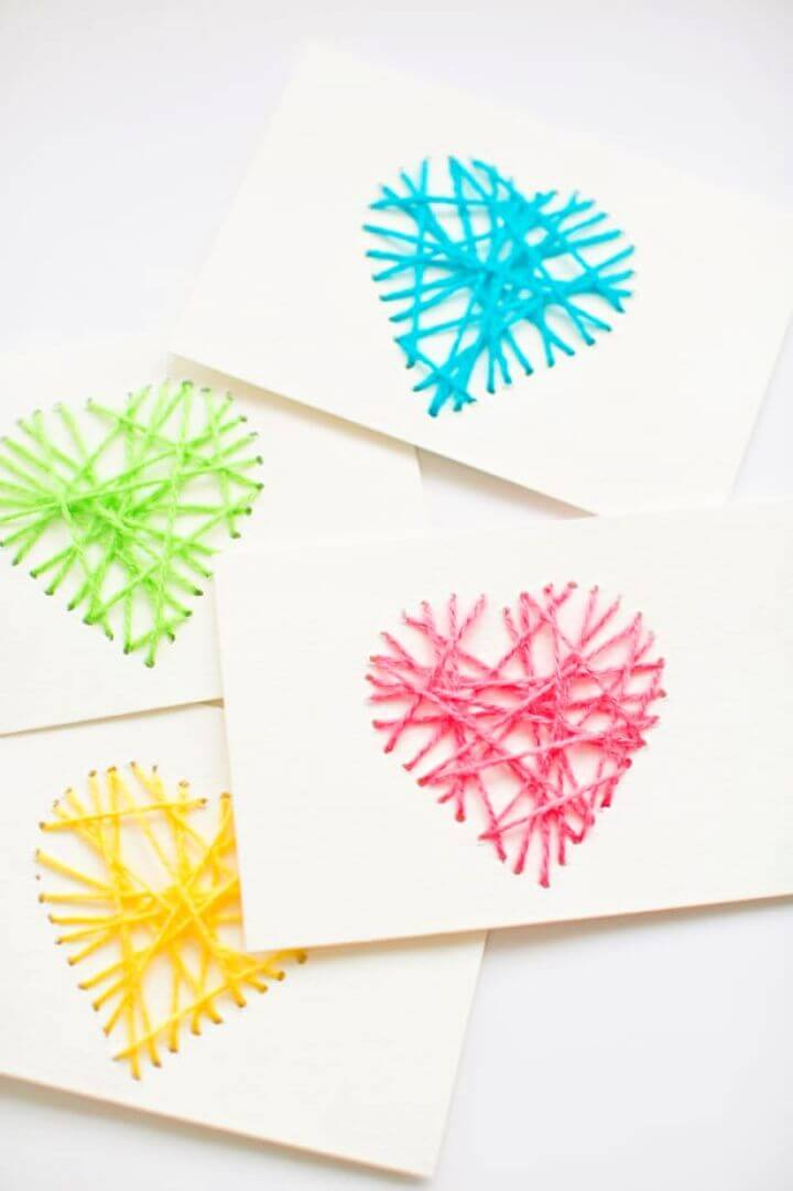Make Your Own DIY String Heart Yarn Cards