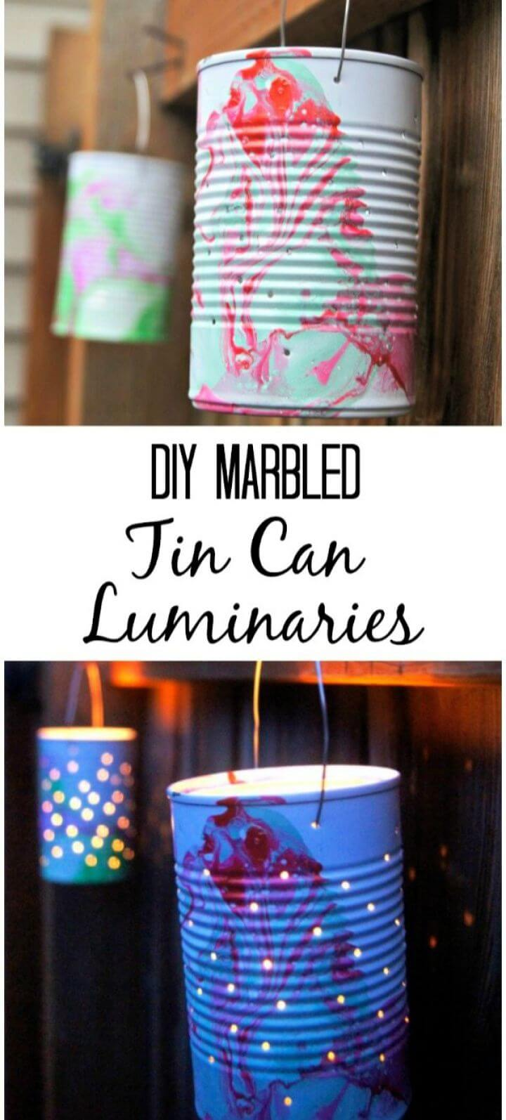 Marbled Tin Can Luminaries