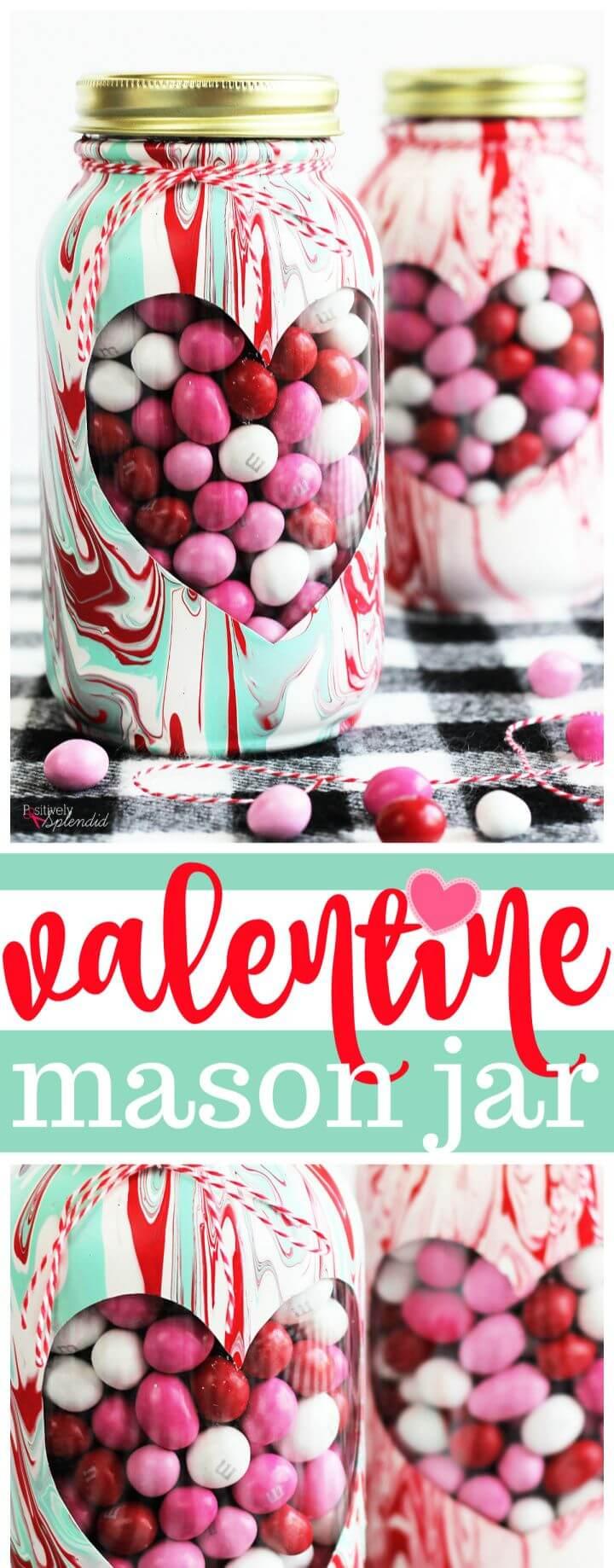 Marbled Valentine Mason Jar