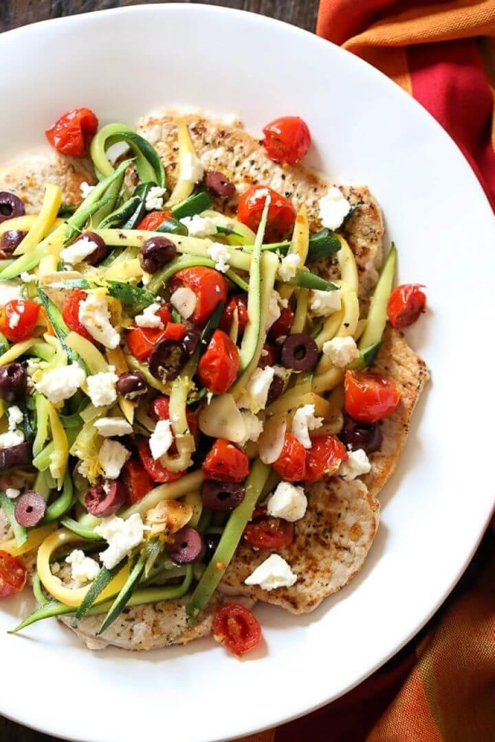 Mediterranean Boneless Pork Chops With Summer Veggies