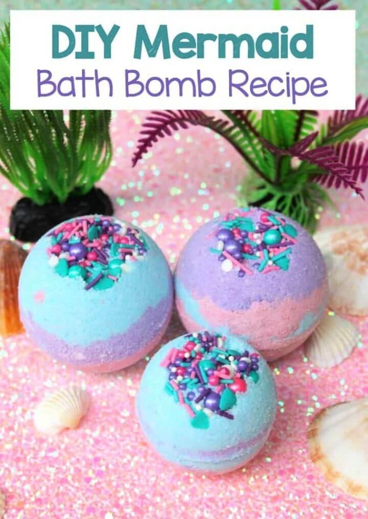 Mermaid Bath Bombs with Coconut Oil