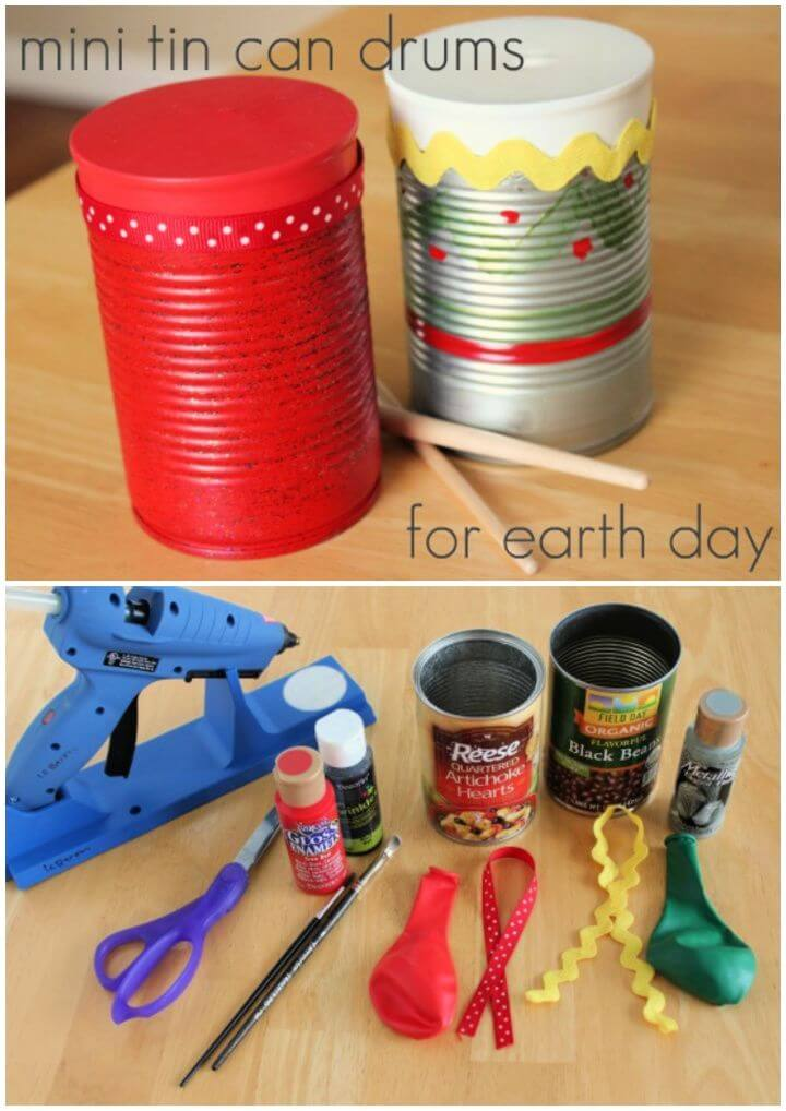 Mini Tin Can Drums Earth Day Craft