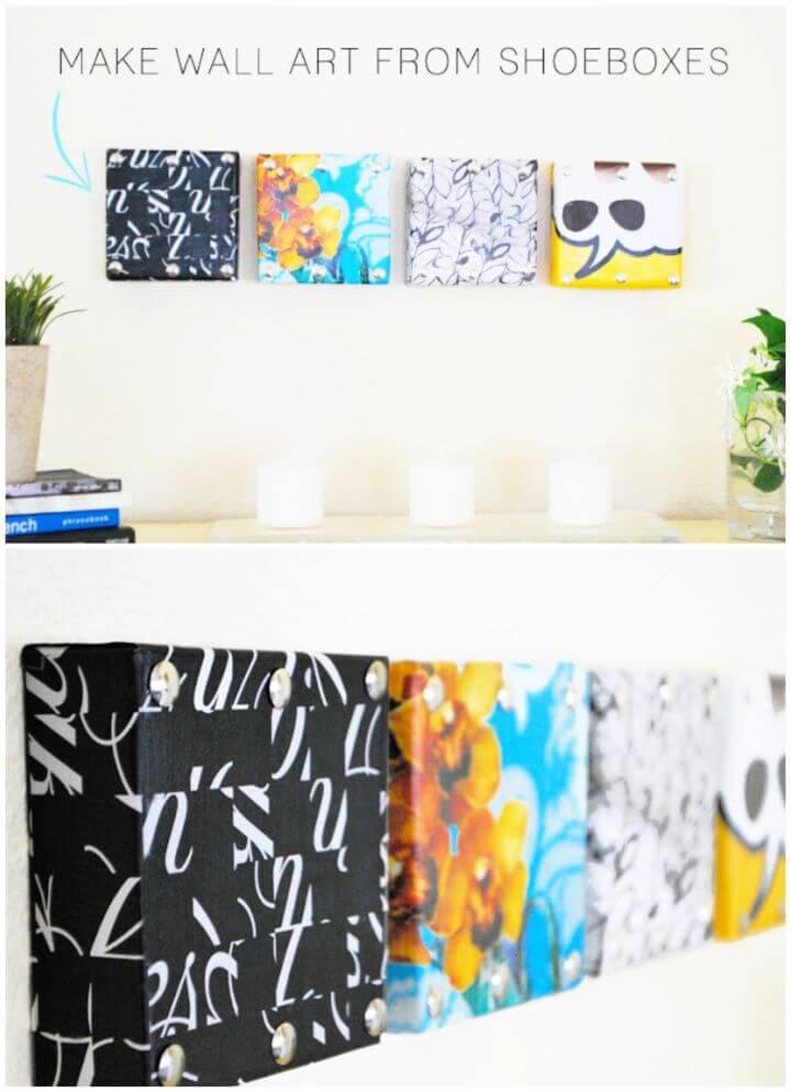 Mini Wall Art From Shoebox Lids