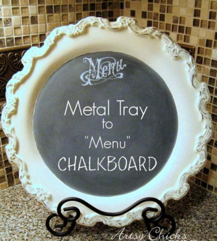 Old Metal Tray Repurposed With Chalk Paint