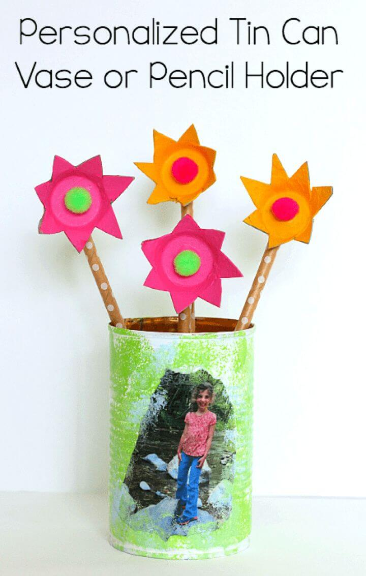 Personalized Tin Can Pencil Holder Craft
