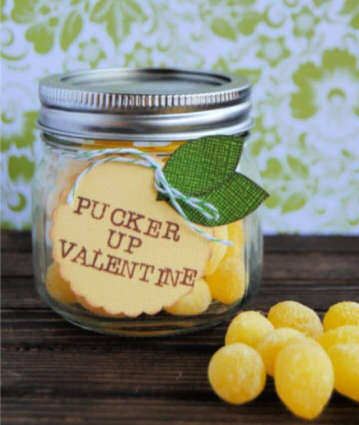 Pucker Up Lemon Drop Mason Jar Gift For Valentines