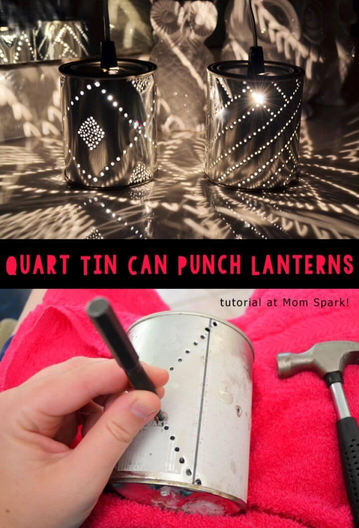Quart Tin Can Punch Lanterns