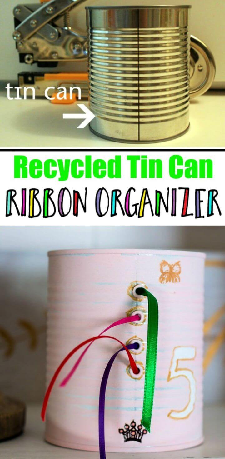 Ribbon Organizer Recycled Tin Can