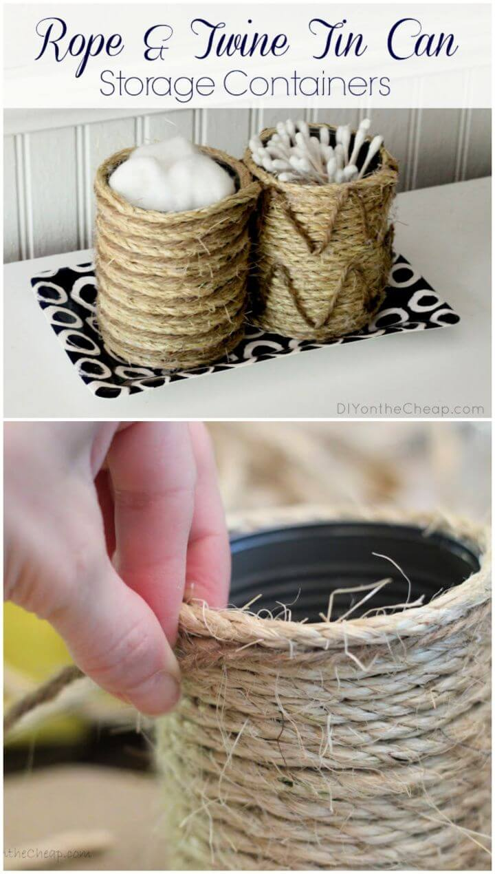 Rope Twine Tin Can Storage Containers