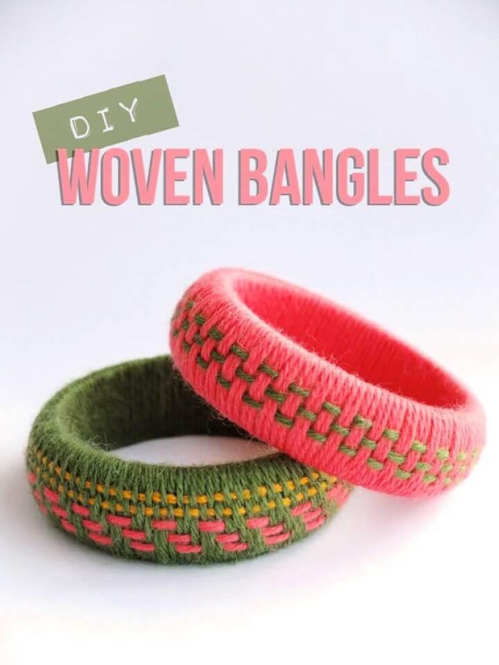 Simple DIY Woven Yarn Bangles