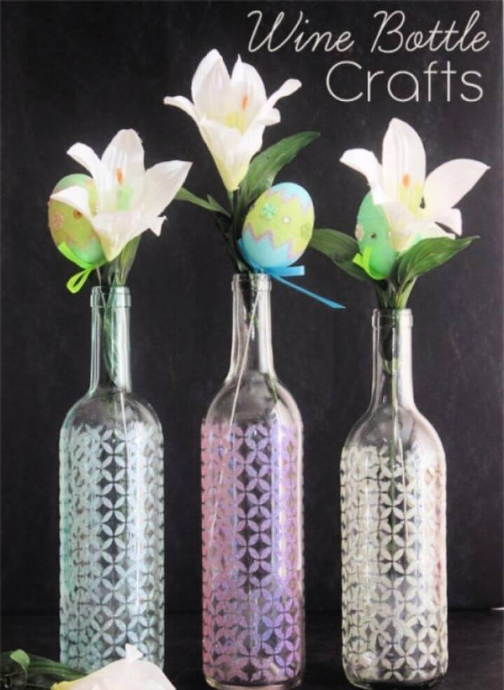 Stenciled Wine Bottle Glitter Vase