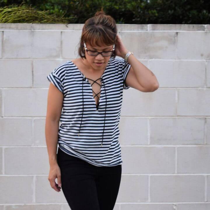 Striped T shirt Refashion To Lace Up Shirt