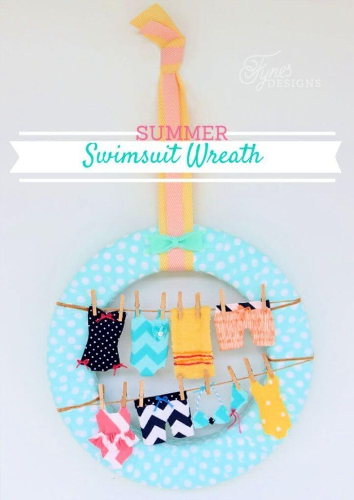 Summer Wreath Idea Swimsuits on the Clothesline