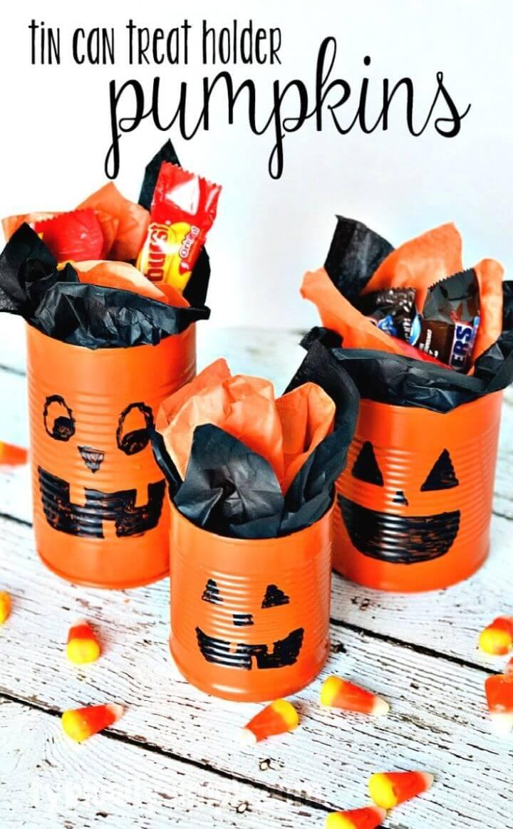 Tin Can Pumpkins Halloween Craft