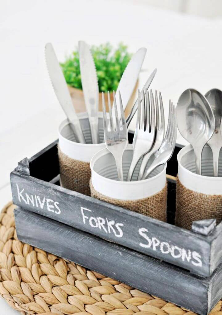 Tin Can Silverware Caddy 10 Minute Craft