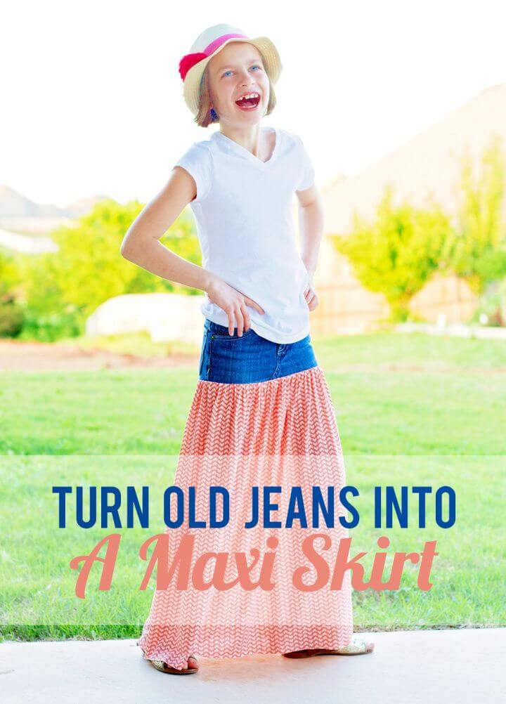 Turn Old Jeans Into Maxi Skirt