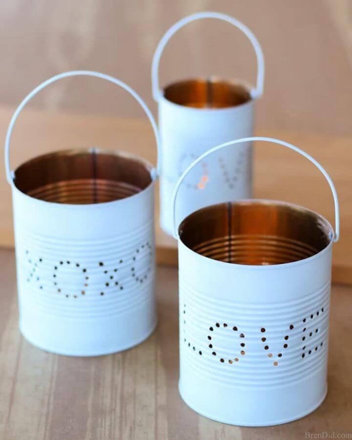 Upcycled Craft Idea Valentine Tin Lantern