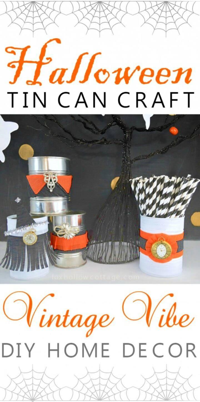 Vintage Halloween Tin Can Craft